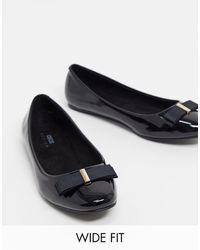 ASOS Wide Fit Luna Bow Ballet Flats - Black