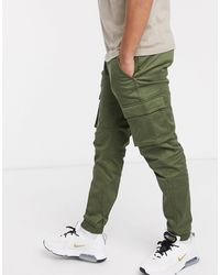 Only & Sons Slim Fit Cargo Trousers With Cuffed Bottom - Green