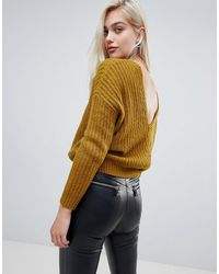 ASOS Chunky Sweater With V Back - Green