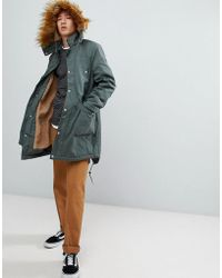 ASOS - Asos Heavyweight Parka With Fleece Lining And Faux Fur Trim In Khaki - Lyst