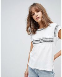 Mango - Embroidered Linen Mix Top In White - Lyst