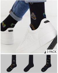 ASOS 3 Pack Sport Socks With Neon Sushi Design - Black