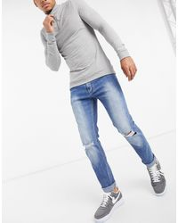 Dr. Denim Clark - Slim Fit Jeans Met Kniescheur - Blauw