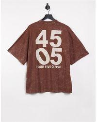 ASOS 4505 Оversize-футболка В Стиле Унисекс С Эффектом Кислотной Стирки -коричневый Цвет