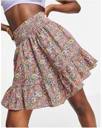Y.A.S Mini-jupe à volants étagés en coton biologique - Rose fleuri - Multicolore