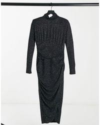 & Other Stories Платье Миди С Высоким Воротником Черно-серебристого Цвета -черный Цвет