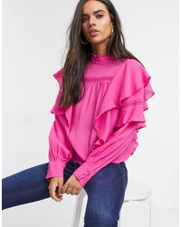 Vero Moda Blouse With High Neck And Ruffle Trim - Pink