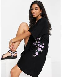 ASOS Crinkle Mini Dress With Drawstring Waist With Floral Embroidery - Black