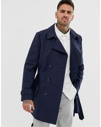 ASOS Shower Resistant Double Breasted Trench Coat - Blue