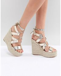River Island - Metallic Cut Out Tie Up Wedges - Lyst