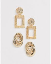 New Look 2 Pack Rectangle Drop And Linked Hoop Earrings In Gold - Metallic