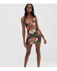 522a96df9a70b ASOS - Asos Design Tall Jersey Beach Skirt With Ruched Front In Dark  Tropical Print Co