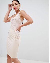 b73c6d0a85d13d Flounce London - Sequin Lace Cami Bodycon Dress In Pink - Lyst
