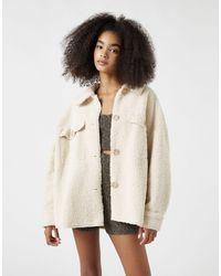Pull&Bear Серовато-бежевая Куртка Из Искусственного Меха -белый - Естественный