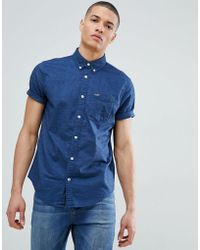 Hollister Short Sleeve Oxford Shirt Slim Fit Button Down In Navy - Blue