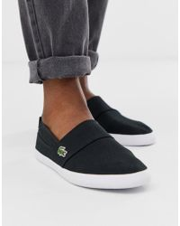 dce636dae Lacoste - Marice Slip On Plimsolls In Black - Lyst