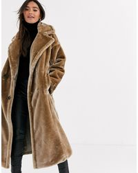 ASOS Plush Faux Fur Maxi Coat With Seam Detailing - Gray