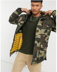 Jack & Jones Куртка С Камуфляжным Принтом И Искусственным Мехом На Капюшоне Premium-зеленый