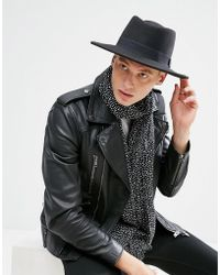 ASOS - Pork Pie Hat In Black With Diamond Crown - Lyst