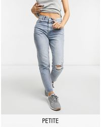 Dr. Denim Petite – Nora – Mom-Jeans im Used-Look - Blau