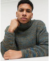 ASOS Сине-зеленый Вязаный Oversized-свитер В Рубчик С Высоким Воротником - Многоцветный