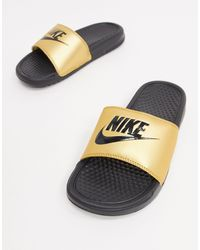 Nike Benassi Gold And Black Sliders