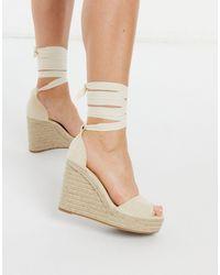 Glamorous Wedge Espadrille Sandals - Natural