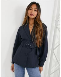 Y.A.S Tailored Blazer With Balloon Sleeves And Belted Waist - Blue