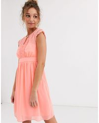 Naf Naf Peachy Soft Mesh Empire Still Dress With Short Sleeves - Pink
