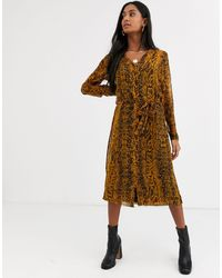 Ichi Snake Print Sheer Dress With Slip-multi - Brown