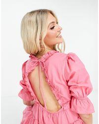 Miss Selfridge Frill Tier Beach Mini Dress - Pink