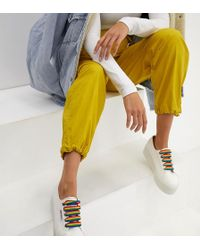 Superga - 2790 Exclusive White Chunky Trainers With Rainbow Laces - Lyst