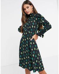 Closet Long Sleeve High Neck Mini Dress - Green