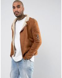 Sixth June - Faux Shearling Biker Jacket In Tan - Lyst