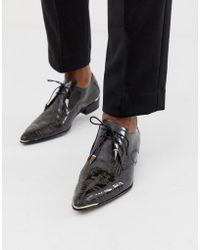 Jeffery West Adamant Cuban Shoes With Graveyard Etch - Black