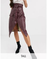 Missguided Faux Leather Belted Wrap Front Skirt - Red