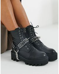 LAMODA Lace Up Boots With Studded Harness - Black