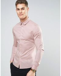 ASOS - Super Skinny Shirt With Stretch In Pink - Lyst