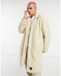 Sixth June Manteau long en imitation peau - Blanc