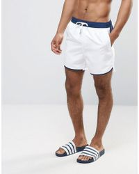 Another Influence Colour Block Curved Hem Swim Shorts - Blue