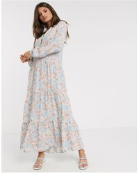 Warehouse Ornate Floral Print Midi Dress - Blue
