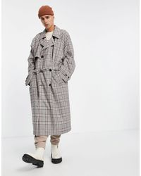 ASOS Double Breasted Oversized Trench Coat - Grey