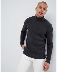 1645c2ef ASOS Slim Fit Long Sleeve T-Shirt With Crew Neck in Black for Men - Lyst