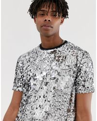 ASOS - Festival T-shirt With Silver Sequins - Lyst