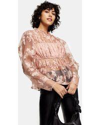 TOPSHOP Organza Floral Print Blouse - Pink