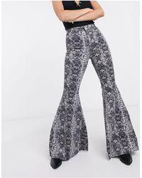 Free People Geo Printed Flared Pants - Gray