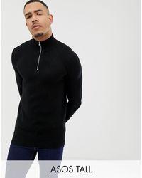ASOS Tall – Mittelschwerer Pullover mit halblangem Reißverschluss - Schwarz