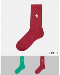 ASOS Набор Из 2 Пар Новогодних Носков До Щиколотки С Вышивкой - Многоцветный