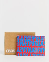 ASOS - Faux Leather Cardholder With Slogan Print In Red And Blue - Lyst