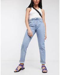 Weekday Seattle Organic Cotton High Waist Tapered Jeans - Blue